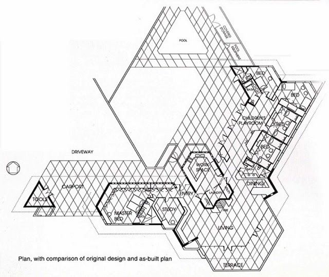 Plan dr george ablin house1961 bakersfield california usonian bakersfield california usonian style malvernweather Image collections