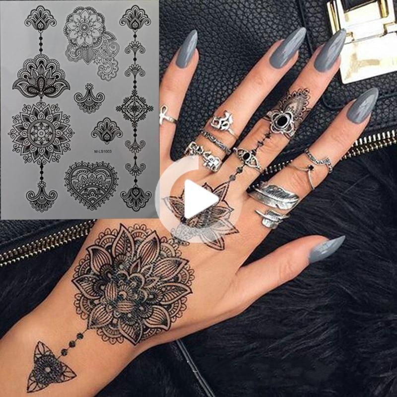 Black waterproof hand tattoos 8 sheets in 2020 henna