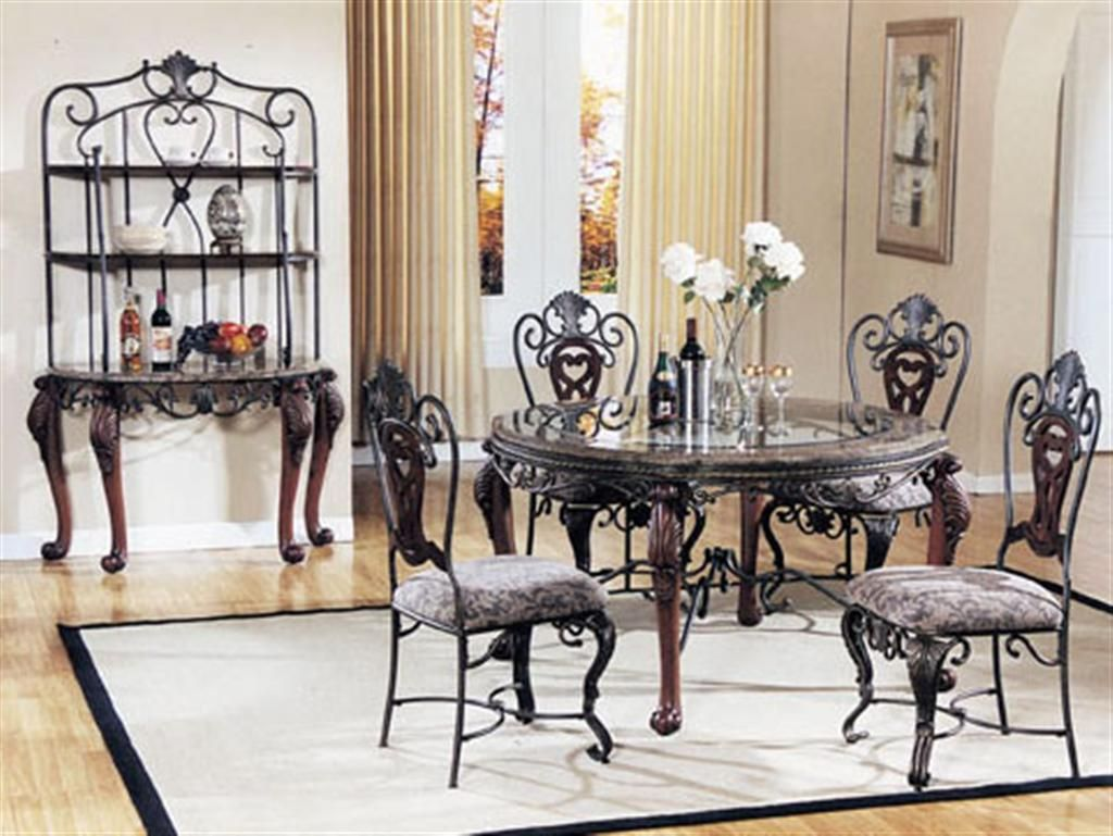 Round dining room sets - Exotic Classic Marble Trim Dining Sets With Round Glass Top Dining Table And Gorgeous Carved Dining Chairs With Floral Pad Pattern