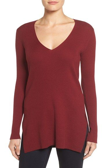 Free shipping and returns on Vince Camuto Ribbed V-Neck Sweater at Nordstrom.com. A tunic-length pullover with just enough shape to define the figure is fashioned from a ribbed cotton knit with a deep V-neckline and slit sides.