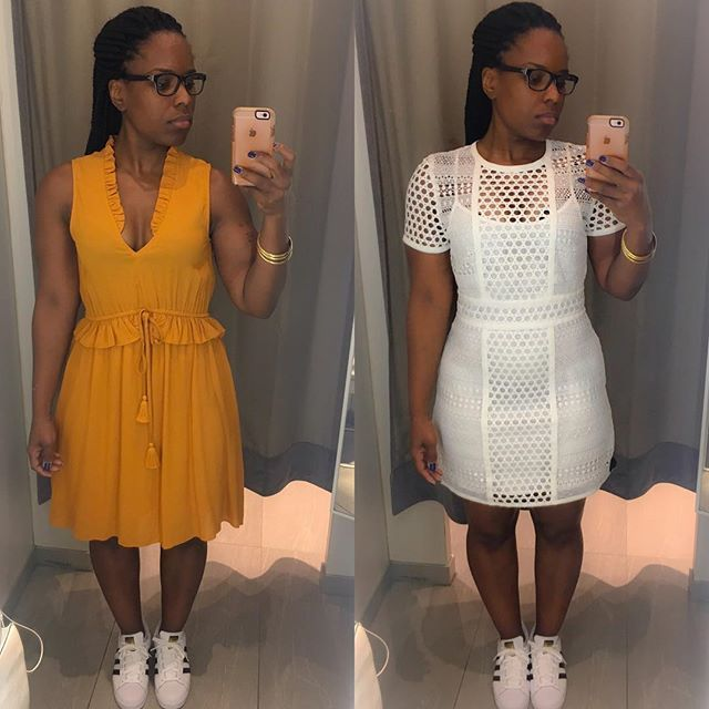 Fitting room chronicles: I went to @hm this morning to exchange a dress. I tried on several things but finally settled on these two dresses. I ultimately went with the gold dress because it looked better on me. I LOVED the white dress but it was kinda short. It was also riding up on my hips and it made me look I was carrying a food baby . I even phoned a friend and @ktsdivamom agreed lol. Y'all out taking advantage of this tax free shopping or nah?