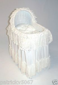 White Lace Comforter Sets White Wicker Baby Bassinet Set