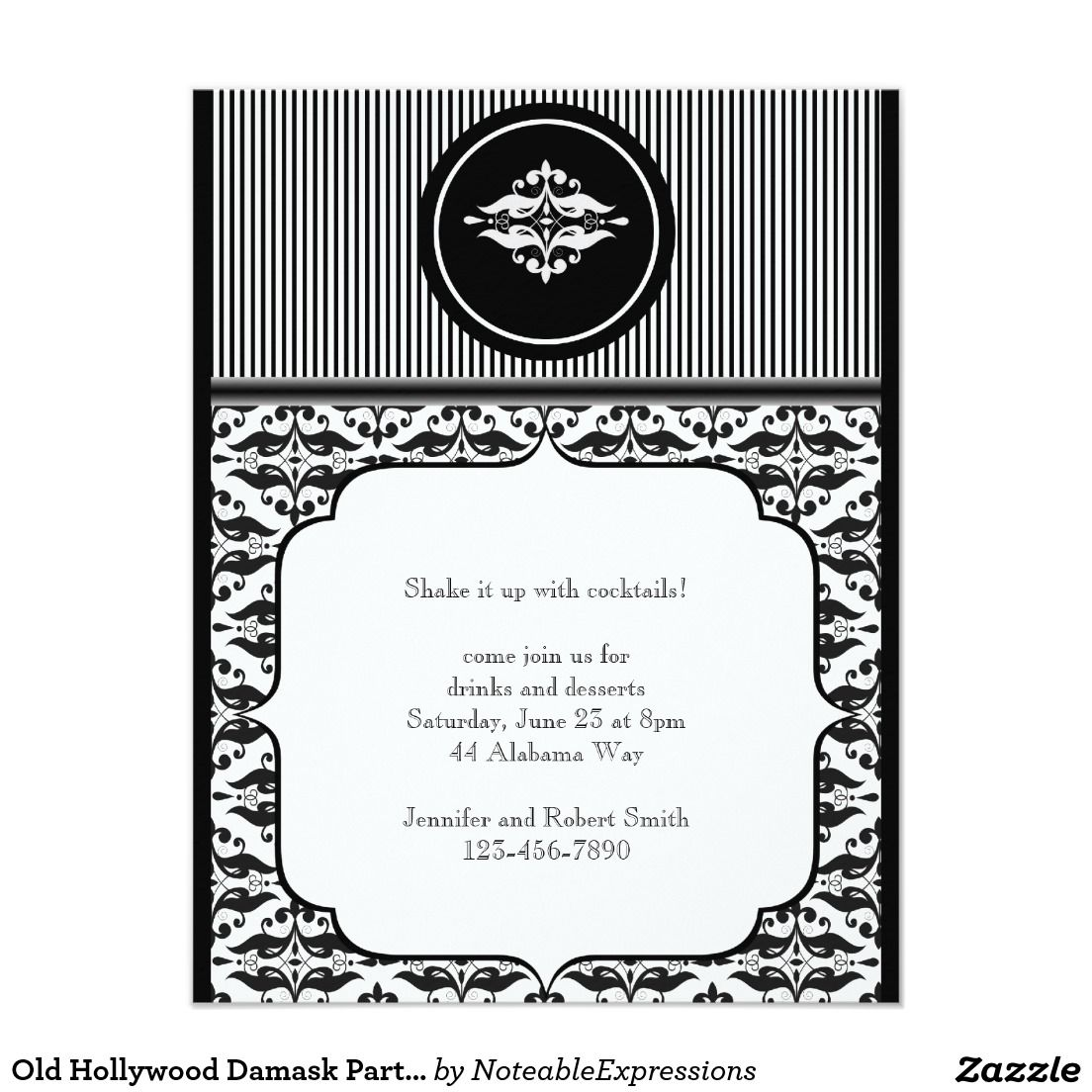Old Hollywood Damask Party Invitation 4.25\