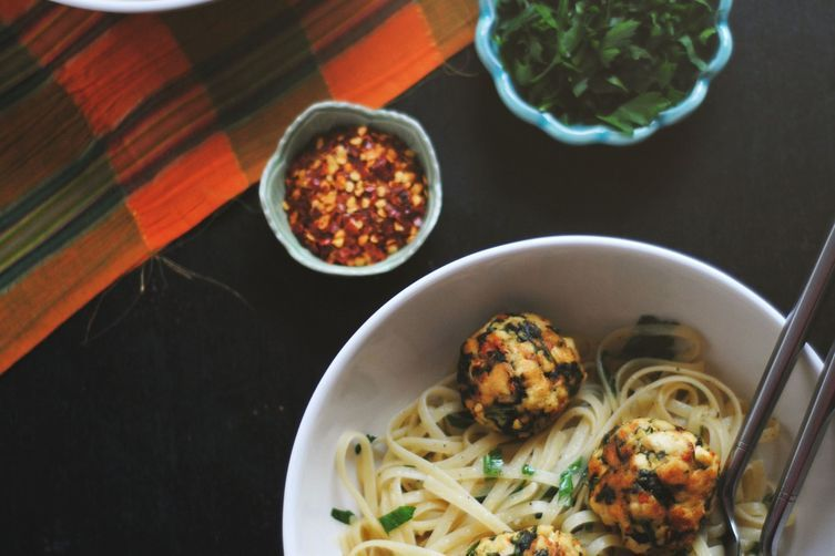 Kale + Tofu Balls with Pasta recipe on Food52