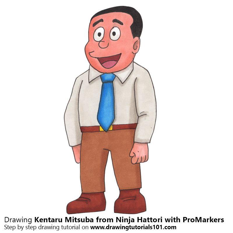 Kentaru mitsuba from ninja hattori with promarkers speed drawing