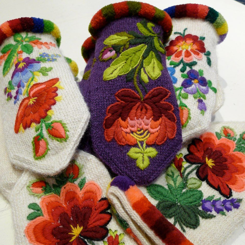 Swedish embroidered mitten
