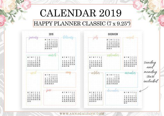2019 Calendar, Happy Planner Inserts Printable, Year at a glance