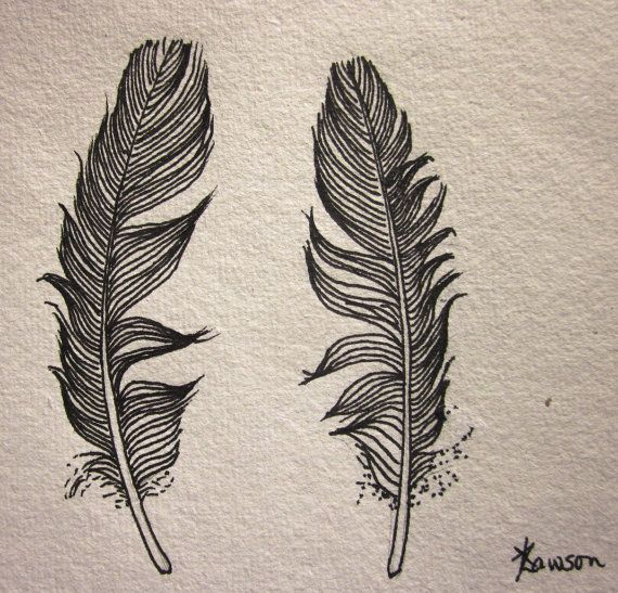 2 Small Black Feathers -- Original Ink Drawing, From My
