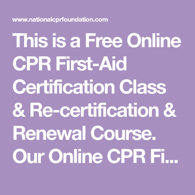 This Is A Free Online Cpr First Aid Certification Class Re