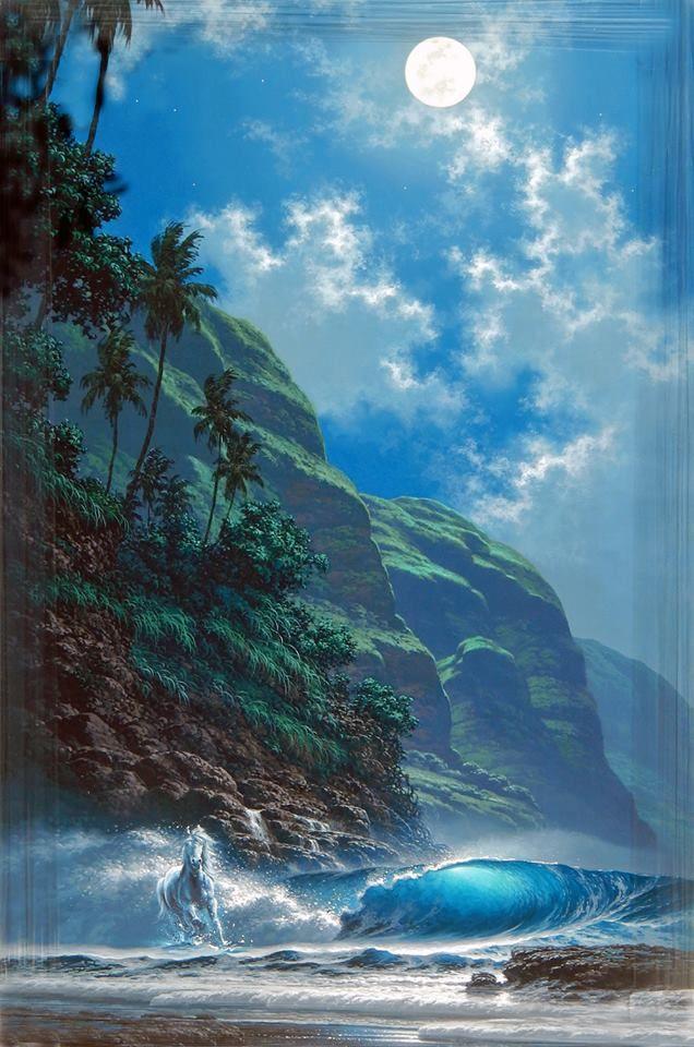 Jim S Water Horse Painted Into Hawaiian Ocean Artist Tabora S Print Of Tabora S Ocean Scene Landscape Paintings Surreal Art Horse Painting