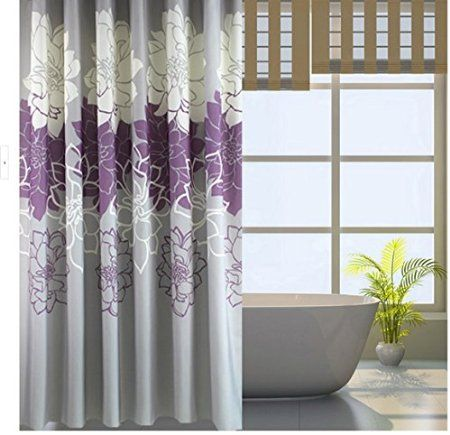 Eforgift By Floral Printed Fabric Shower Curtain Polyester Waterproof/ No  More Mildews Bathroom Curtains With Free Hooks Stall Size (Purple/Grey) By  ...