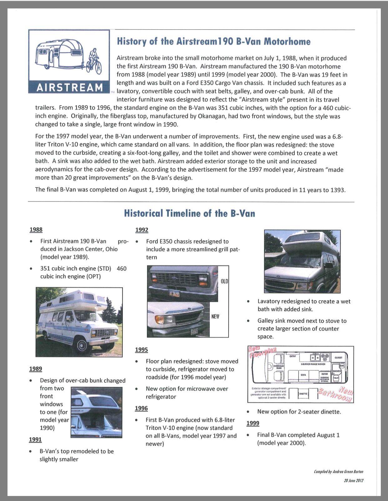 History Of The Airstream B190 Van Motorhome