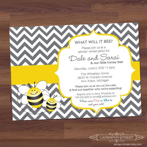 Gender Reveal Party Baby Shower Invitation By Larkspurstreet 14 00 Baby Shower Bee Baby Shower Baby Shower Invitations