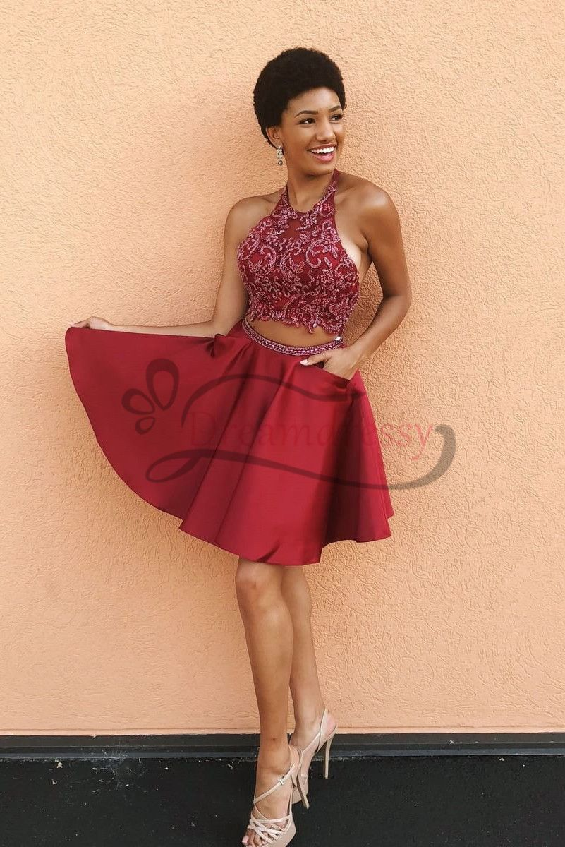 Two piece halter short red homecoming dress with pockets