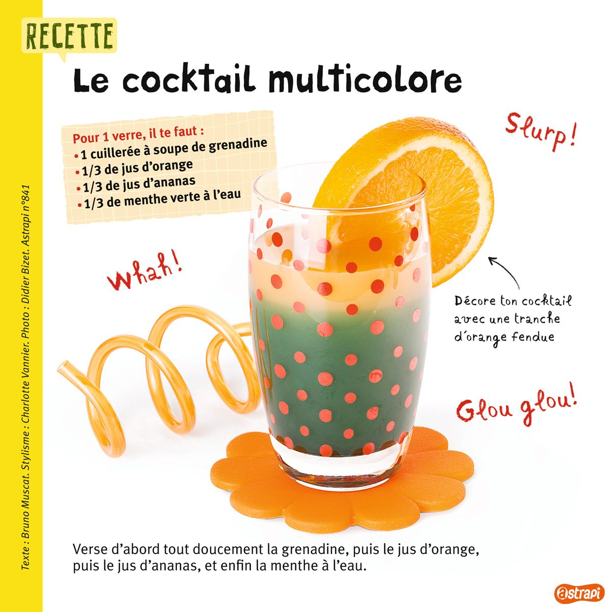 Une recette de cocktail base de jus de fruits pour les enfants extrait du magazine astrapi n - Comment faire des smoothies ...