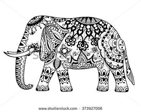 Elephant hand drawn doodle indian elephant with tribal for Indische wohnungseinrichtung