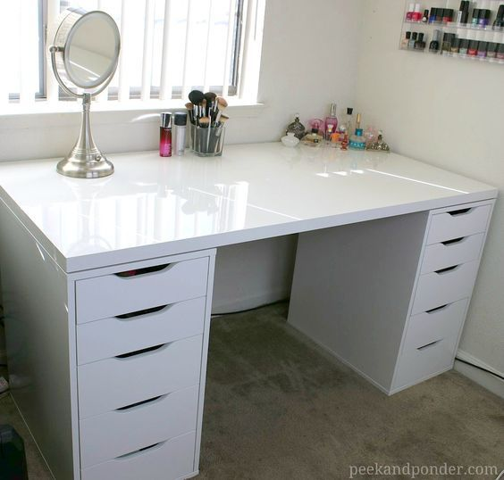 Diy Makeup Vanity With Ikea Pieces Peek Ponder Ikea Makeup Storage Ikea Drawers Vanity Room