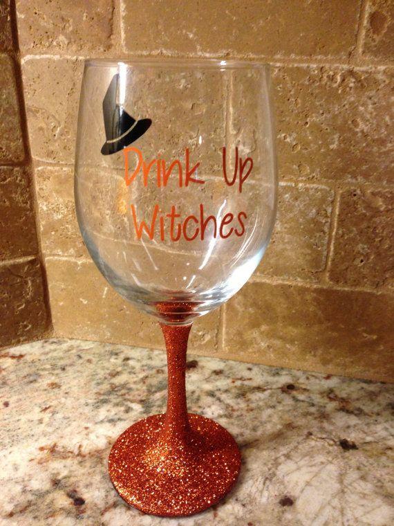 Glitter Stem Wine Glass by TerisSignsandSuch on Etsy, $13.00