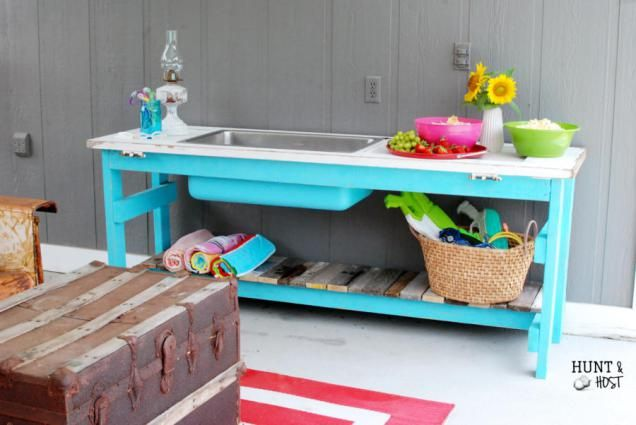 Outdoor Party Buffet Table in Pool Blue