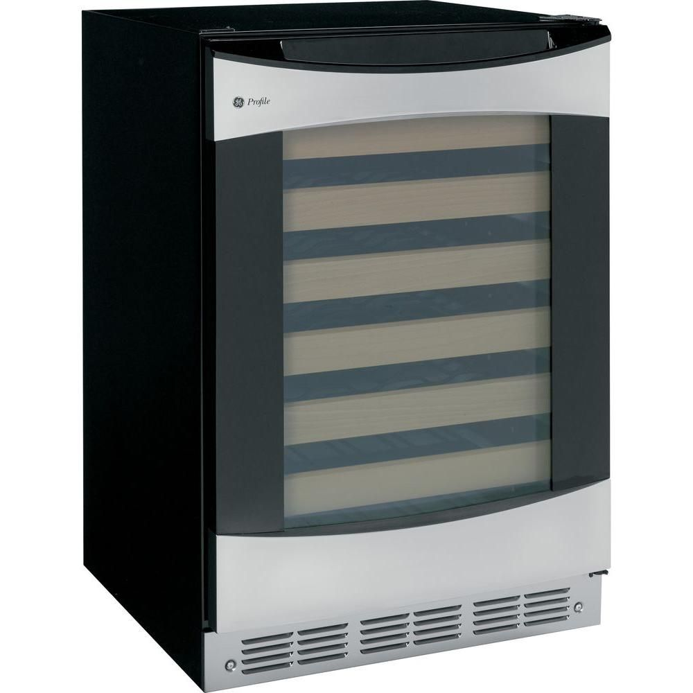 Ge Profile 57 Bottle Wine Cooler In Stainless Steel Silver
