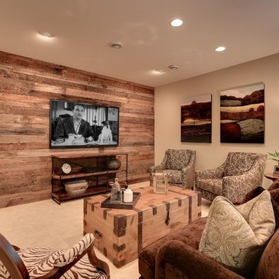 Basement design ideas pictures remodel and decor - Wood walls in living room ...