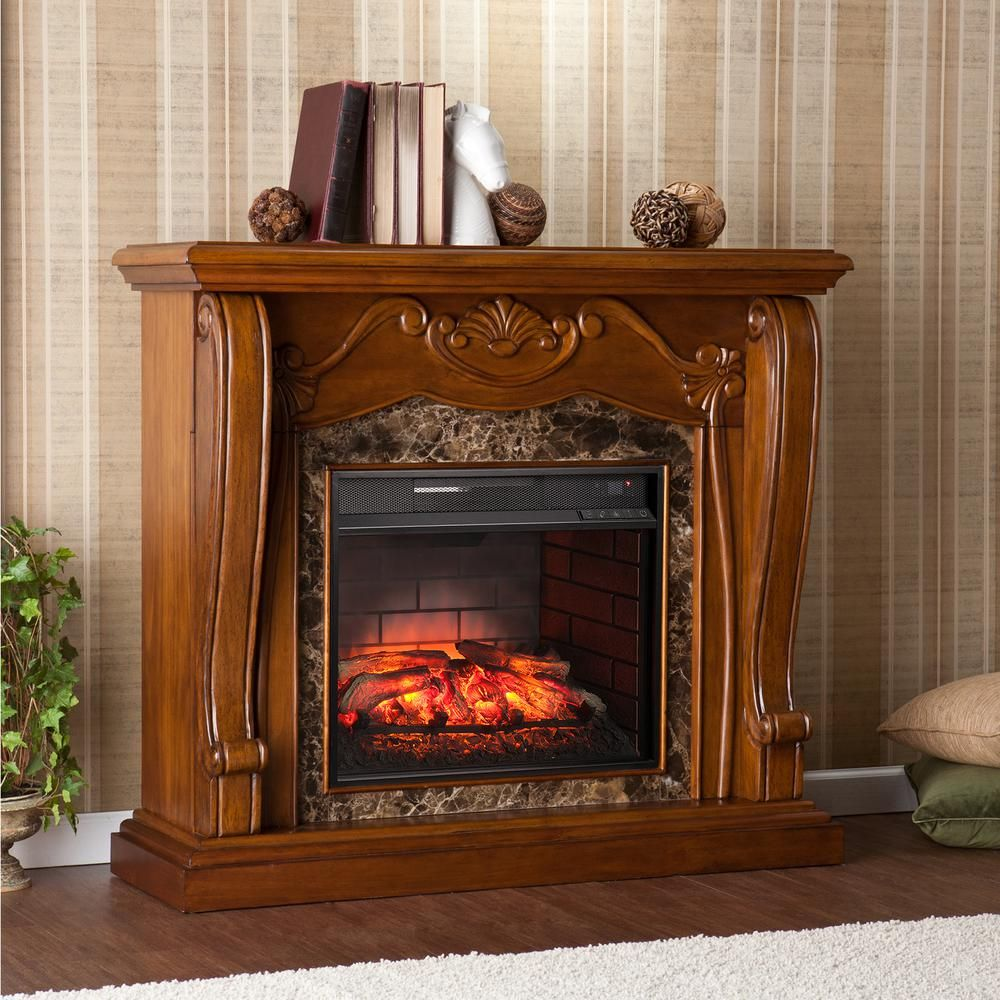 Montgomery in w infrared electric fireplace in walnut brown