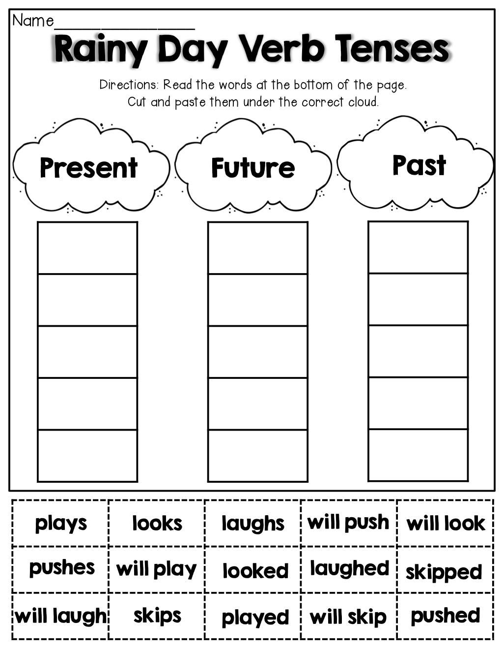 verb tenses cut and paste 1st grade activities englischunterricht englisch lesen. Black Bedroom Furniture Sets. Home Design Ideas