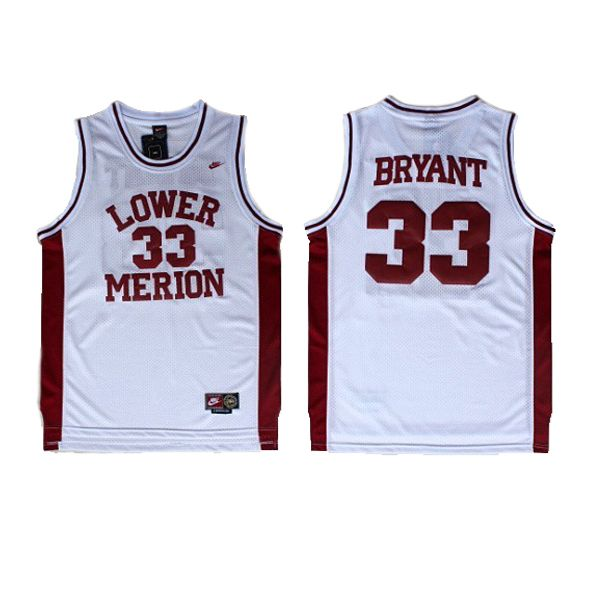 cf8f324df4d Kobe  Bryant Jersey - Lower Merion High School 33 Basketball Jersey. The  name and numbers are stitched.