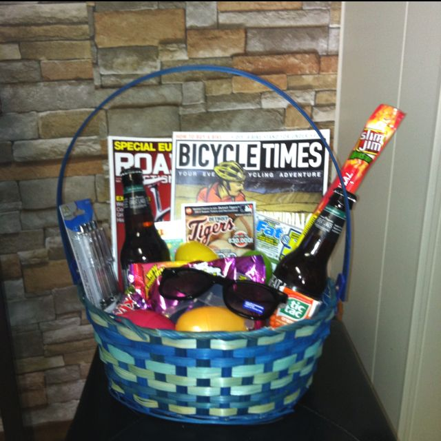 Boyfriends easter basket i just made full of a few favorites boyfriends easter basket full of a few favorites huge slim jim some pens for work foldable sunglasses some brewskis magazines of interest and of negle