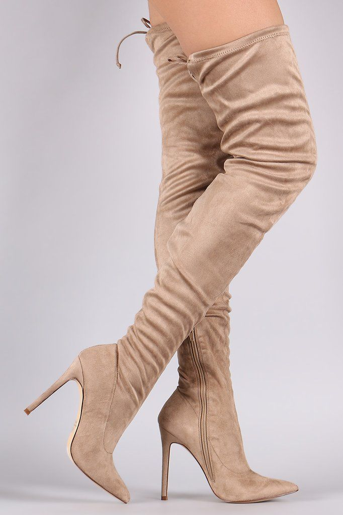 4777c509350 Pointy Toe Drawstring Tie Stiletto Suede Over-The-Knee Boots - Gioellia  Boutique - 13