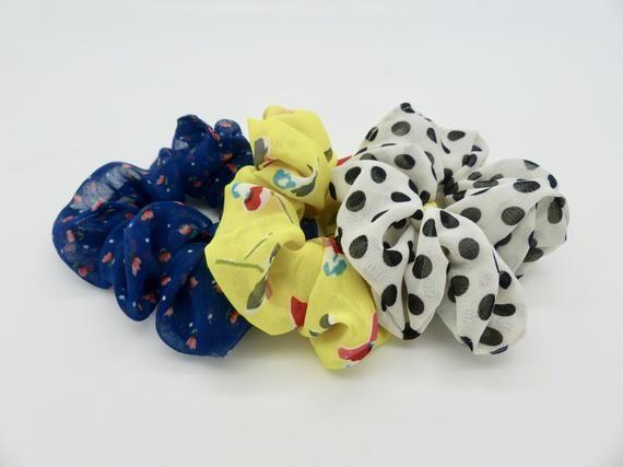 3 Hair Scrunchies. Hair elastic. Scrunchy pack. Hair ties. Pack of 3 chiffon hair scrunchies. Print #hairscrunchie