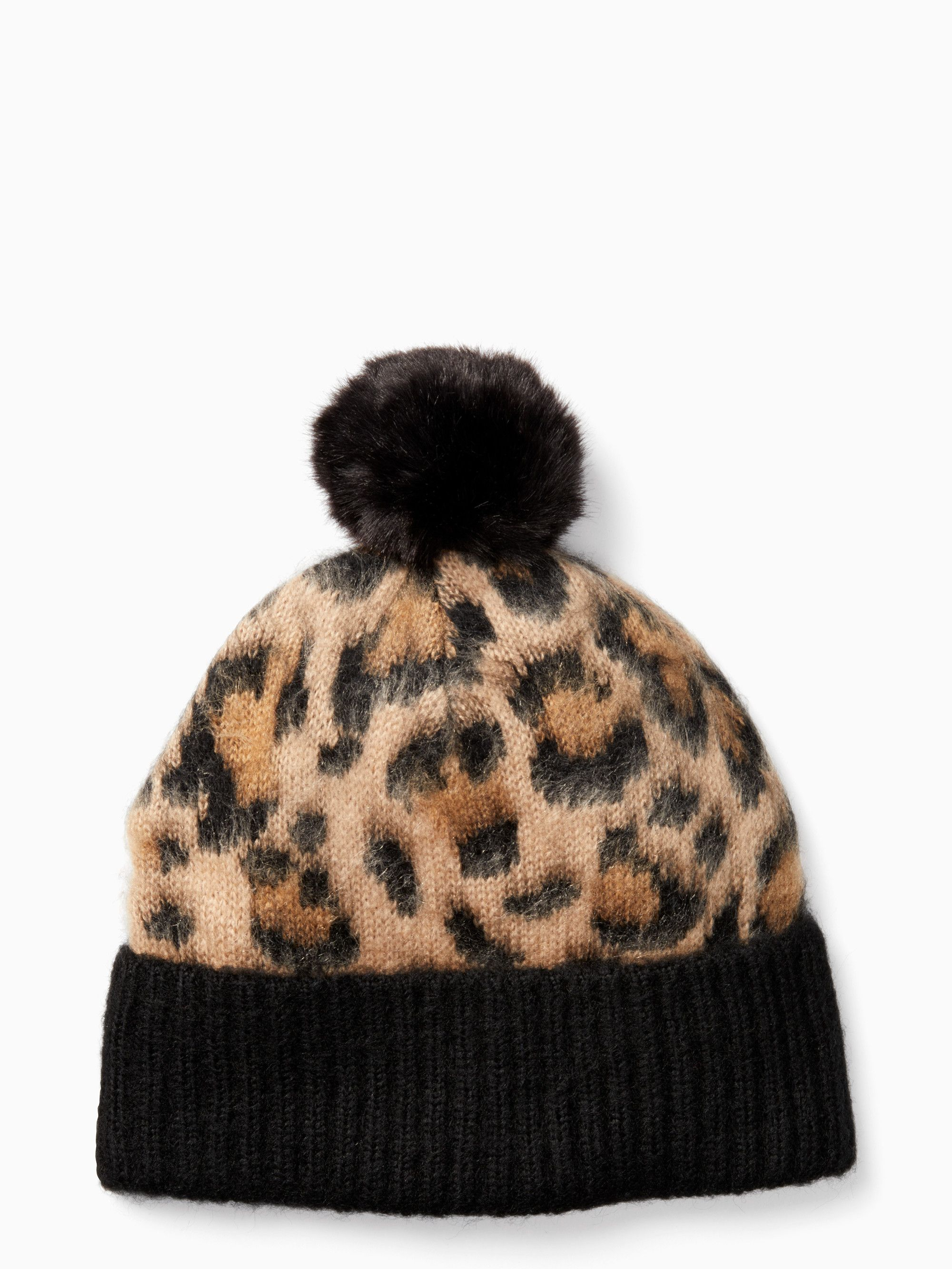 Kate Spade - Leopard print faux fur pom pom beanie winter hat (vegan  friendly) 9751f49e476