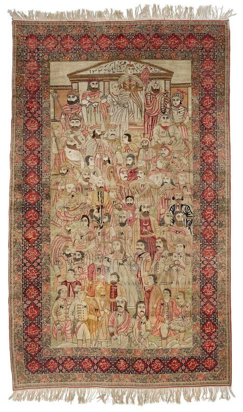"""KIRMAN LAVER antique.Pictorial carpet """"Leaders of the World"""". Light central field with depictions of historically significant men in delicate pastel colours, red and black border with name cartouches, 156x240 cm."""