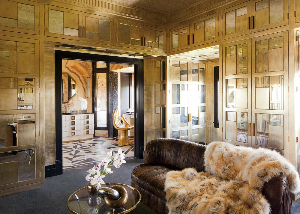 In A High Octane Los Angeles Home Designed By Kelly Wearstler, The Wifeu0027s Dressing  Room Is Lined In Gold Leafed Wood Paneling Inset With Antiqued Mirrors ...
