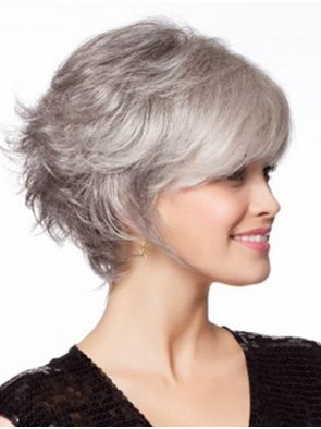 grey monofilament wavy chin length perfect synthetic wigs