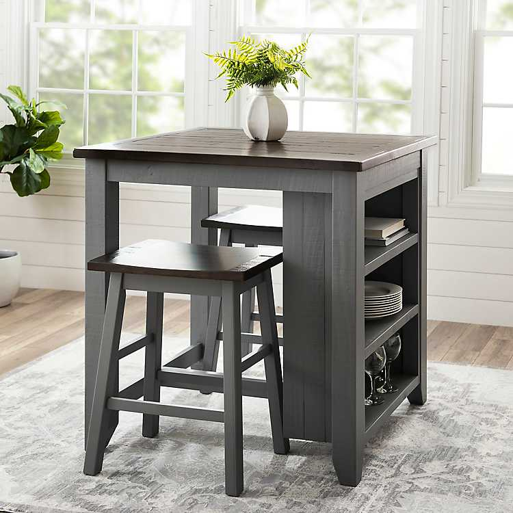 Gray 3-pc. Franklin Kitchen Island And Stools Set