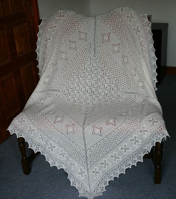 Estonian Lace Christening Shawl pattern by Hazel Roots ...