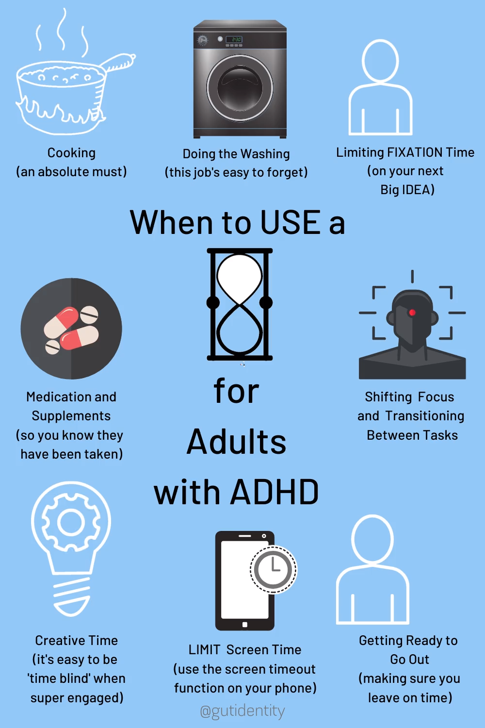 Adults with ADHD often lose track of time.  This can happen from being highly engaged in an activity, or from getting easily distracted and losing focus.  Timers can be effective for planning, increasing productivity, daily routines, and ensuring that hours don't fly by without you noticing. Timer use can help reduce stress, enable you to get stuff done and give you a feeling of control and structure throughout your day.