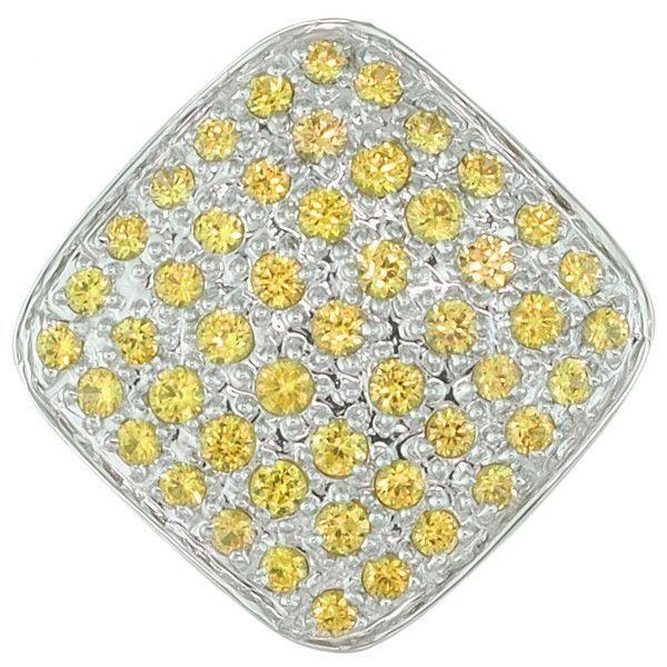 Yellow sapphire white gold designer pendant