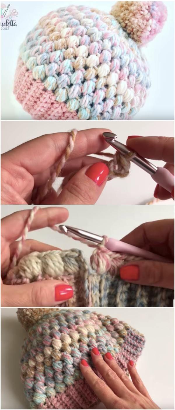 Easy Puff Stitch Beanie Free Crochet Tutorial – English