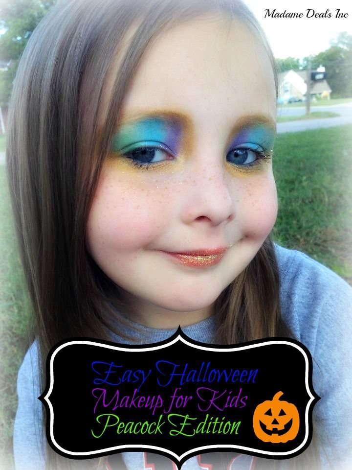 This Easy Halloween Makeup for Kids Peacock Edition is