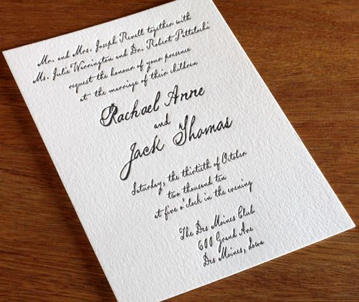 modern letterpress wedding invitation wedding Pinterest - formal invitation style