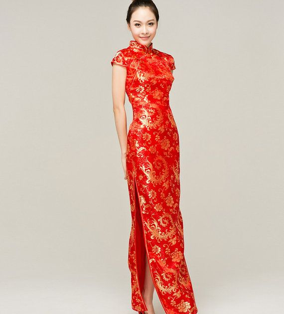 Vintage Long Phoenix Qipao Dress With Side By DesignBridal