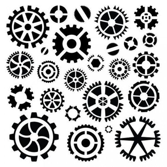 6 x 6 template stencil mask steampunk cogs gears screws