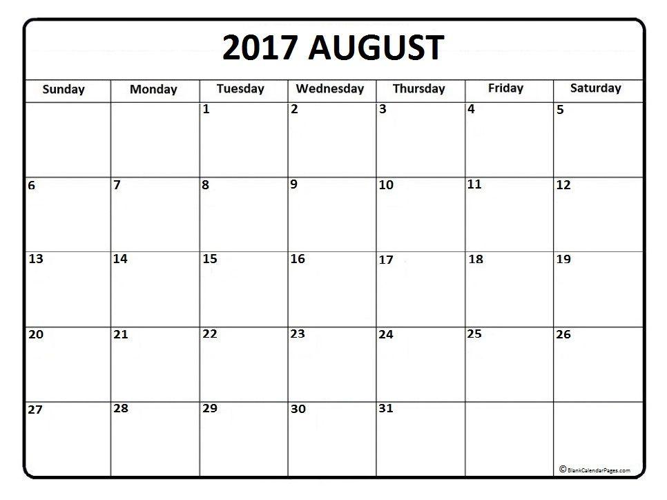 August Calendar  Printable And Free Blank Calendar  Printable