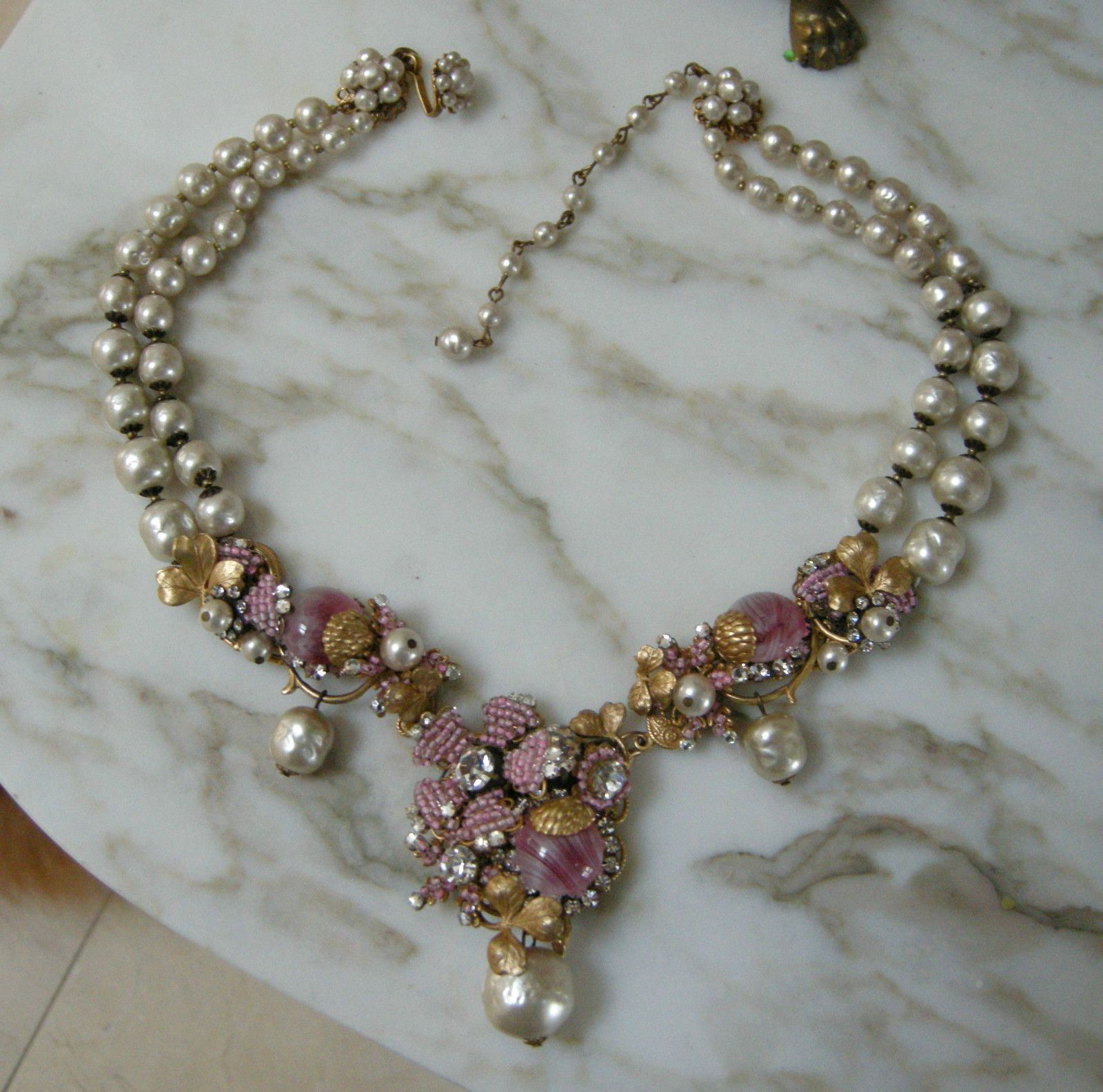 Signed Miriam Haskell EXQUISITE BAROQUE Pearl & Pink Hand Blown Glass Necklace