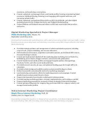 Digital Marketing Manager Resume ~ Marilyn Moran resume
