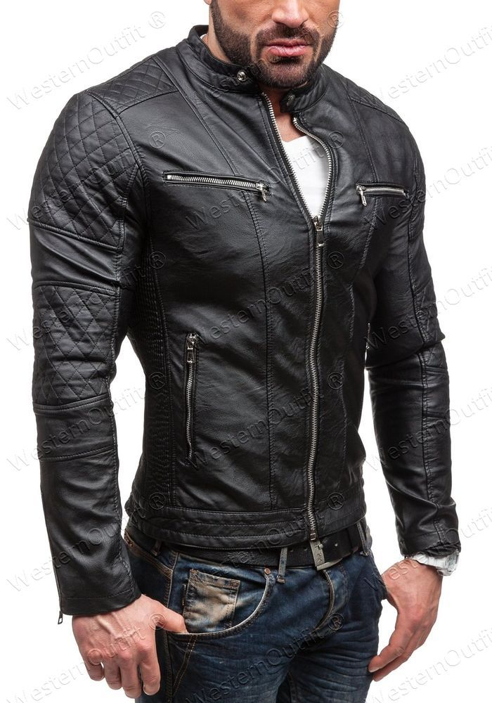 Genuine Lambskin Men Distressed Slim Fit Motorcycle Biker Leather Jackets Black