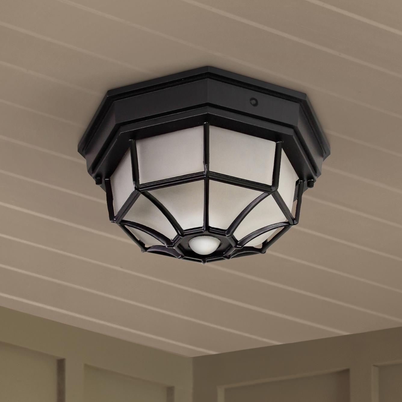 Octagonal 12 Inch Wide Black Motion Sensor Outdoor Ceiling
