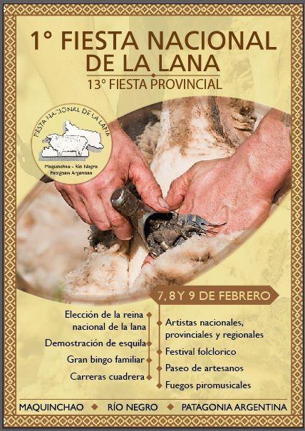 Afiche publicitario, 1° fiesta nacional de la lana